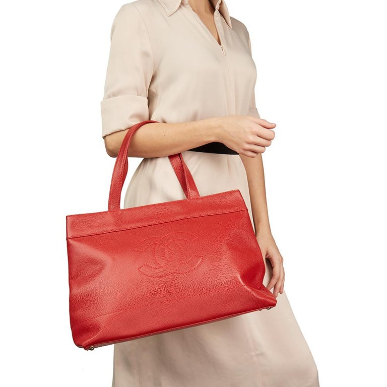 2001 Chanel Red Caviar Leather Timeless Tote For Sale 8