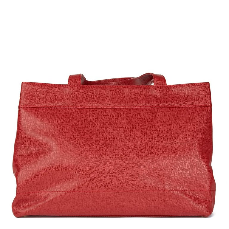 Women's 2001 Chanel Red Caviar Leather Timeless Tote For Sale