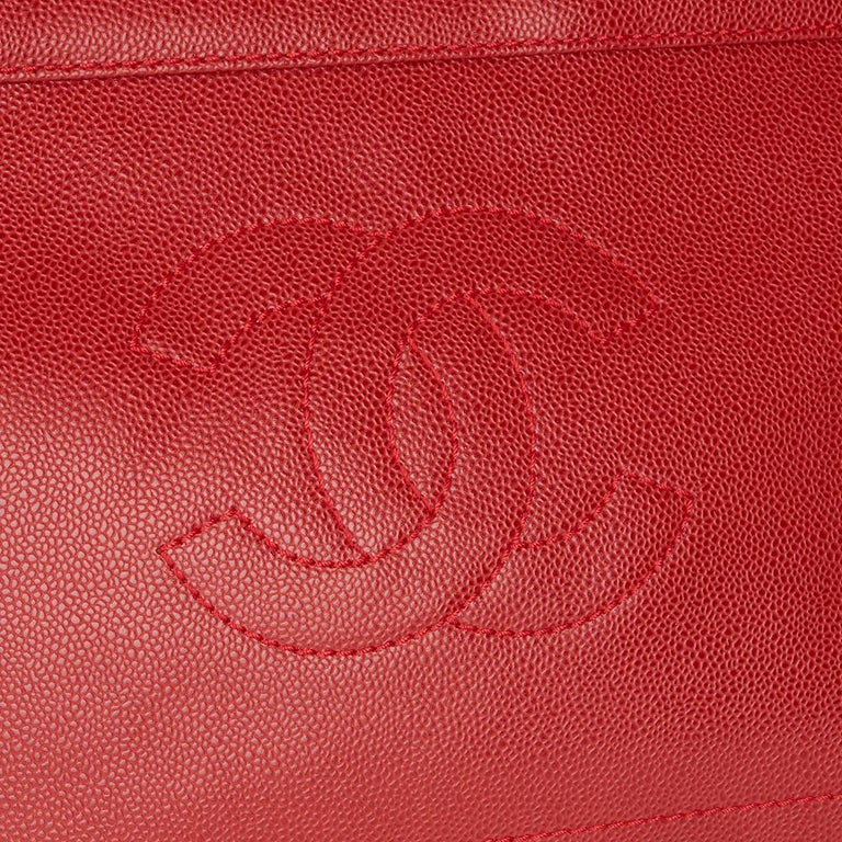 2001 Chanel Red Caviar Leather Timeless Tote For Sale 2