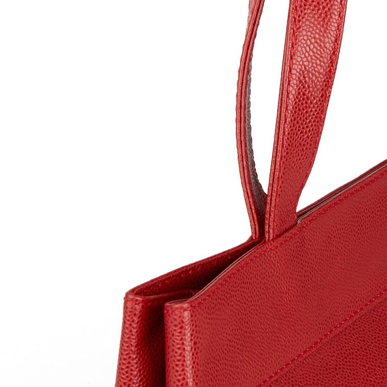 2001 Chanel Red Caviar Leather Timeless Tote For Sale 3