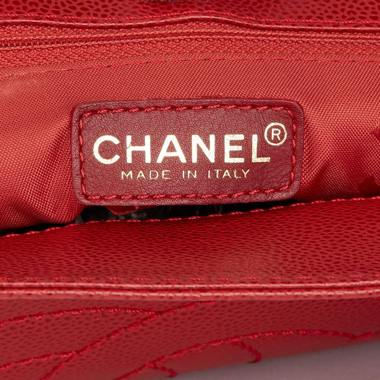 2001 Chanel Red Caviar Leather Timeless Tote For Sale 4