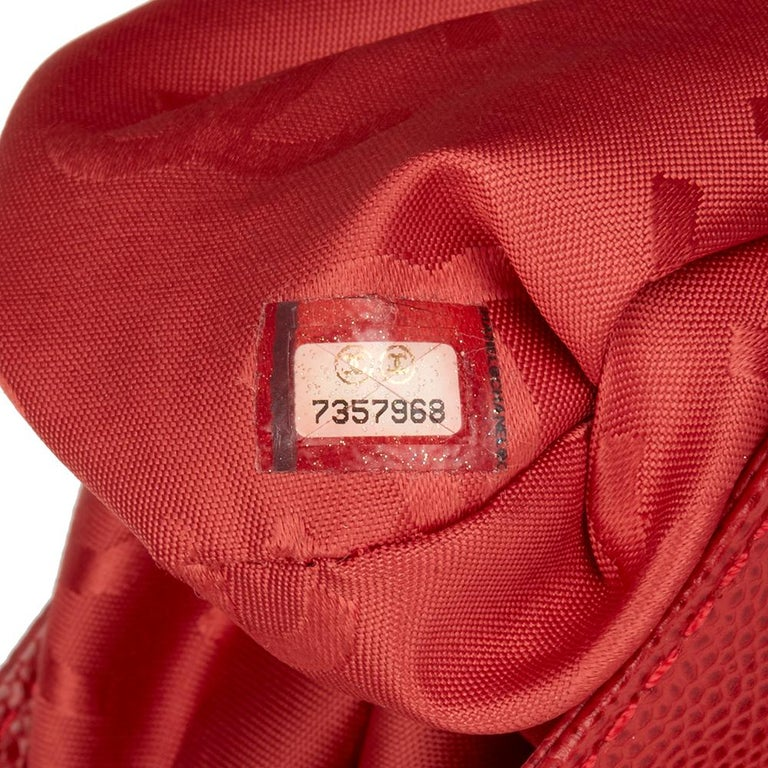2001 Chanel Red Caviar Leather Timeless Tote For Sale 5