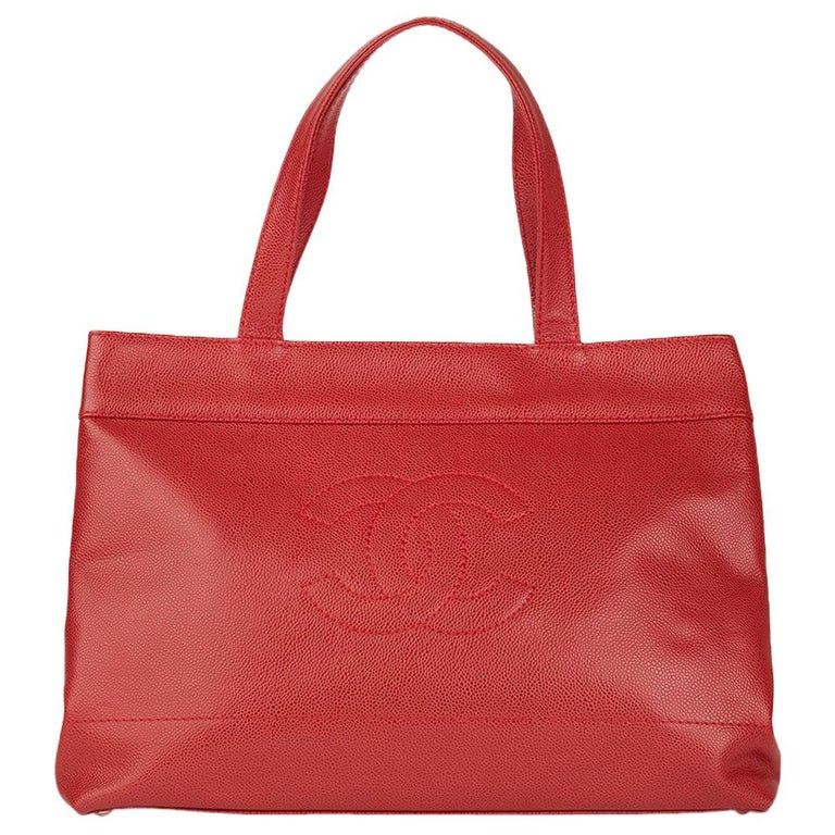 2001 Chanel Red Caviar Leather Timeless Tote For Sale