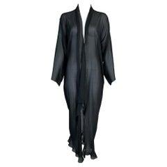 2001 Christian Dior John Galliano Sheer Black Kimono Dress Jacket