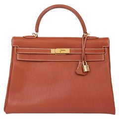 2001 Hermes Brique Togo Leather Retourne Kelly 32cm Bag