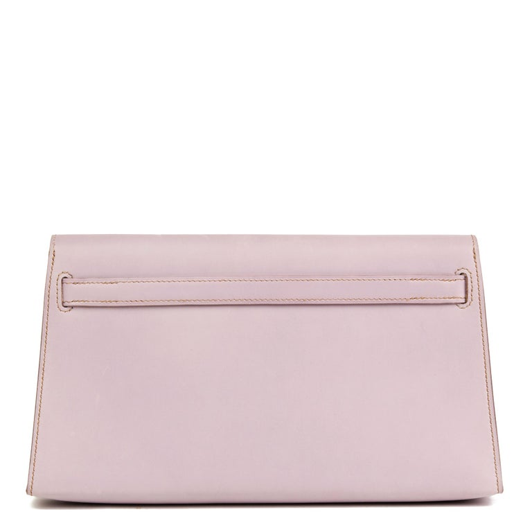 Gray 2001 Hermes Lilac Box Nepal Leather Kelly Longue Clutch For Sale