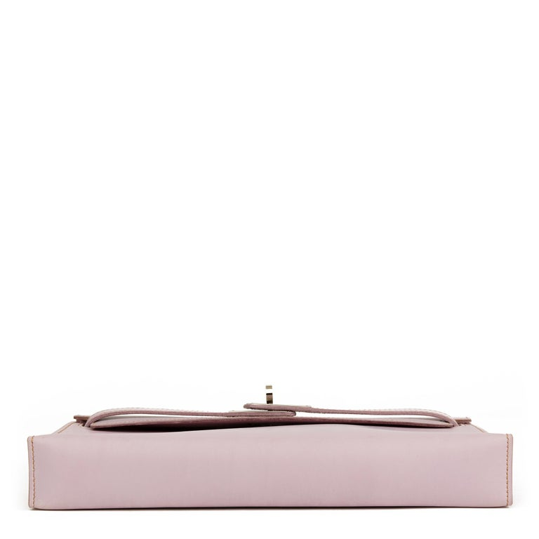2001 Hermes Lilac Box Nepal Leather Kelly Longue Clutch In Good Condition For Sale In Bishop's Stortford, Hertfordshire