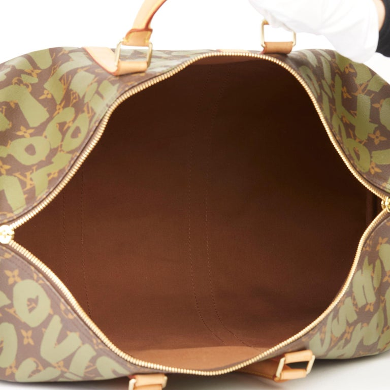 2001 Louis Vuitton Brown Coated Canvas Khaki Graffiti Stephen Sprouse Keepall 50 For Sale 7
