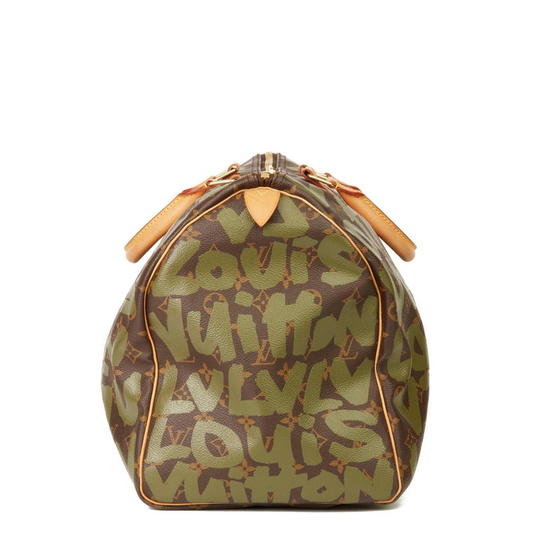 2001 Louis Vuitton Brown Coated Canvas Khaki Graffiti Stephen Sprouse Keepall 50 In Excellent Condition For Sale In Bishop's Stortford, Hertfordshire