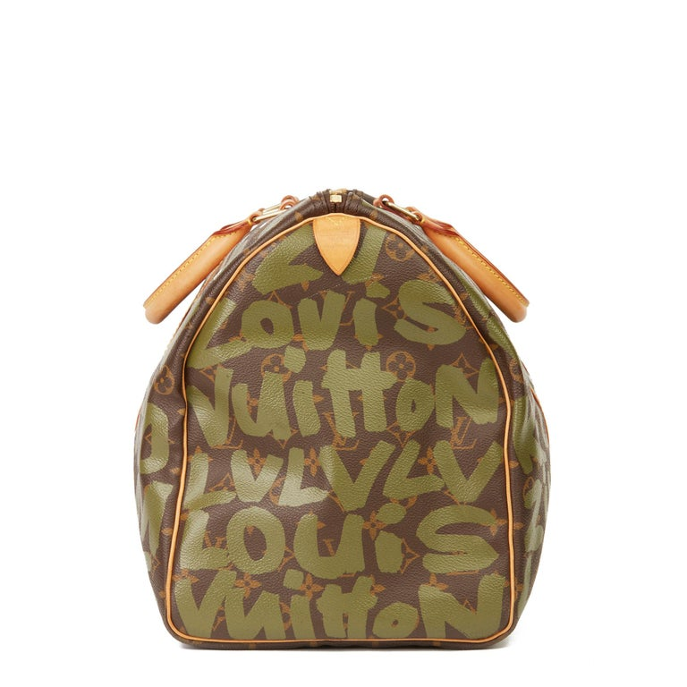 Women's 2001 Louis Vuitton Brown Coated Canvas Khaki Graffiti Stephen Sprouse Keepall 50 For Sale