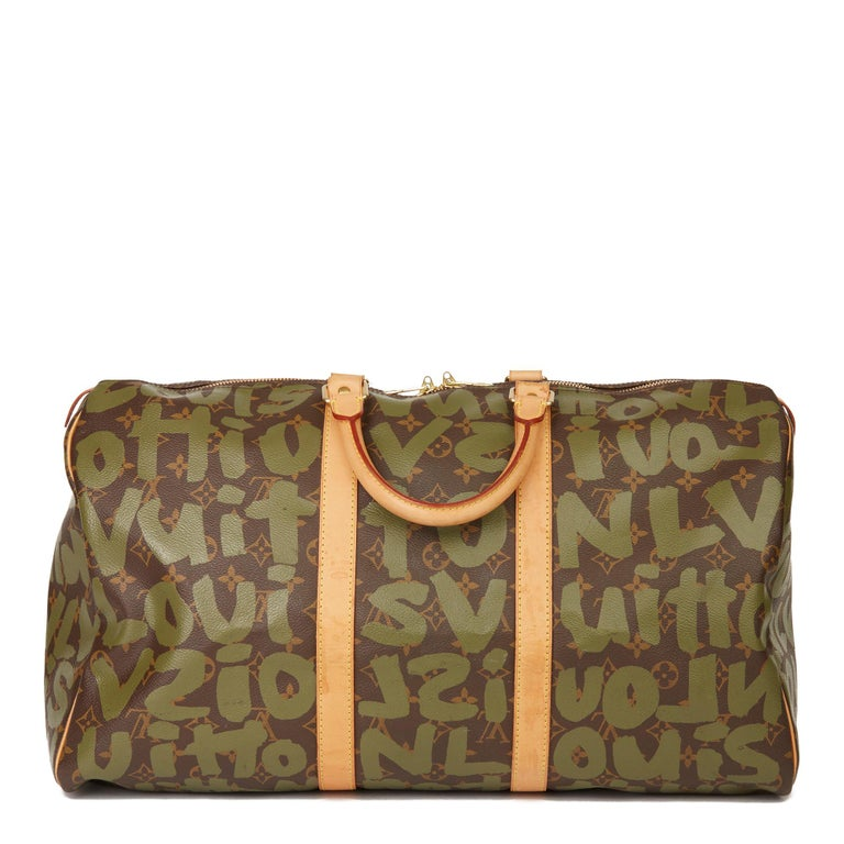 2001 Louis Vuitton Brown Coated Canvas Khaki Graffiti Stephen Sprouse Keepall 50 For Sale 1