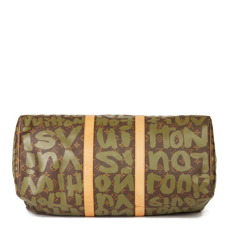 2001 Louis Vuitton Brown Coated Canvas Khaki Graffiti Stephen Sprouse Keepall 50 For Sale 2