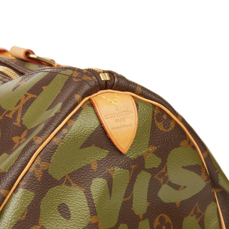 2001 Louis Vuitton Brown Coated Canvas Khaki Graffiti Stephen Sprouse Keepall 50 For Sale 4