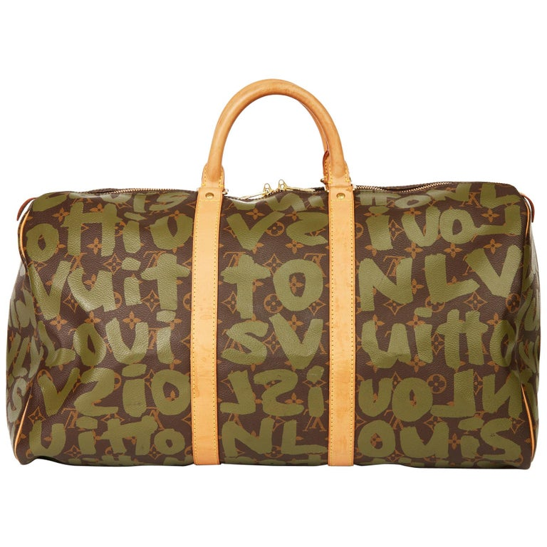 2001 Louis Vuitton Brown Coated Canvas Khaki Graffiti Stephen Sprouse Keepall 50 For Sale