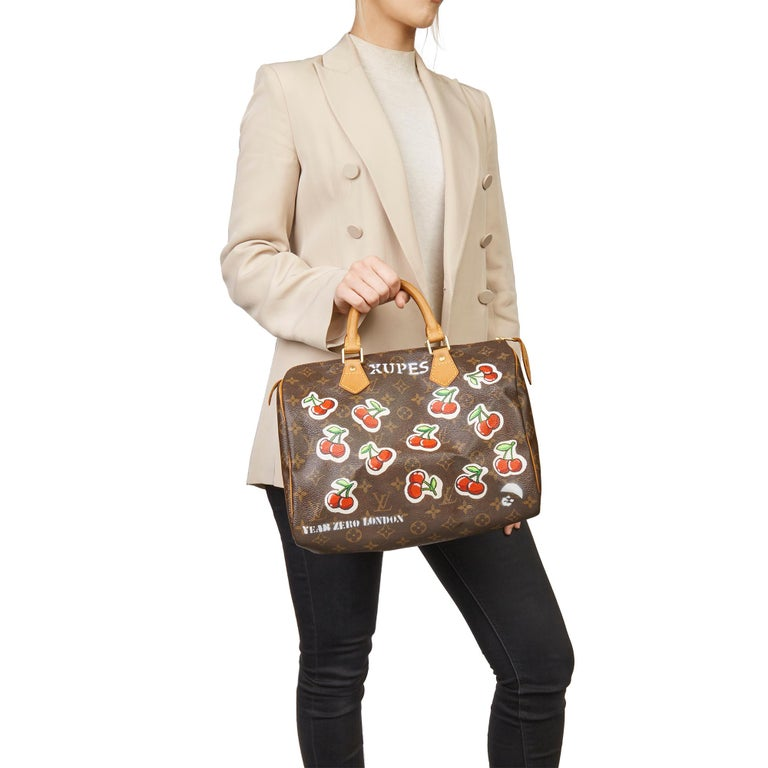 2001 Louis Vuitton Hand-painted  Cherries Brown Monogram Coated Canvas Speedy 30 For Sale 6
