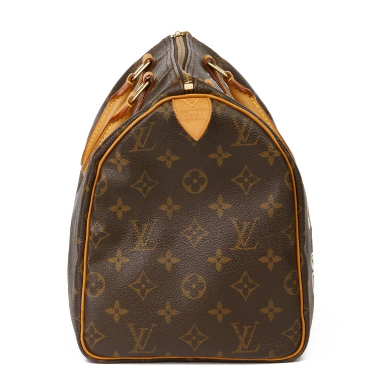 LOUIS VUITTON X Year Zero London Hand-painted  'Cherries' Brown Monogram Coated Canvas Speedy 30  Xupes Reference: HB3092 Serial Number: TH1001  Age (Circa): 2001 Authenticity Details: Date Stamp (Made in France) Gender: Ladies Type: Tote  Colour: