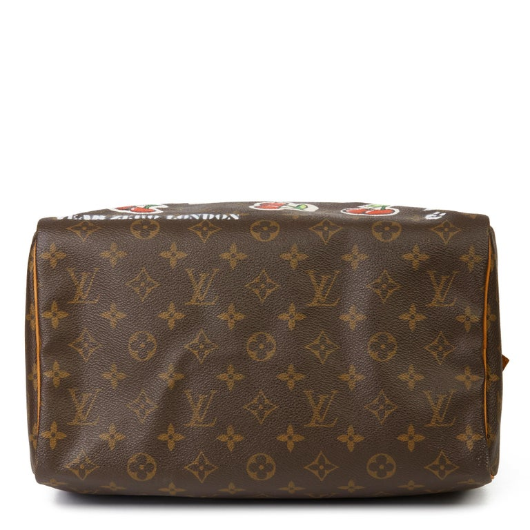 2001 Louis Vuitton Hand-painted  Cherries Brown Monogram Coated Canvas Speedy 30 For Sale 1