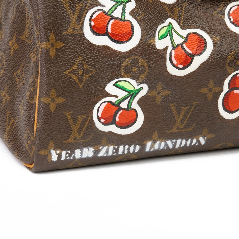 2001 Louis Vuitton Hand-painted  Cherries Brown Monogram Coated Canvas Speedy 30 For Sale 2