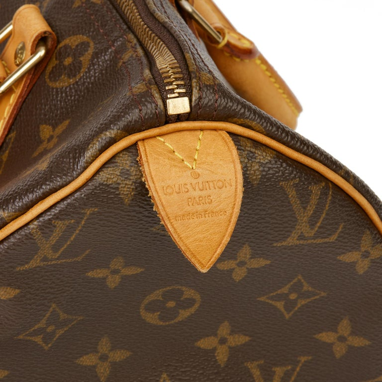 2001 Louis Vuitton Hand-painted  Cherries Brown Monogram Coated Canvas Speedy 30 For Sale 3
