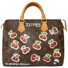 2001 Louis Vuitton Hand-painted  Cherries Brown Monogram Coated Canvas Speedy 30