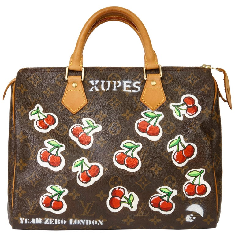 2001 Louis Vuitton Hand-painted  Cherries Brown Monogram Coated Canvas Speedy 30 For Sale