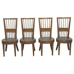 2001 Set of Four Mid-Century Modern Carved Dining Chairs with Spindle Backs