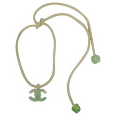 2001 Spring Chanel Resin Mint Green CC Rope Necklace
