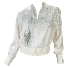 2001 Vintage Tom Ford for Gucci White Silk Bomber Jacket with Dragon Embroidery