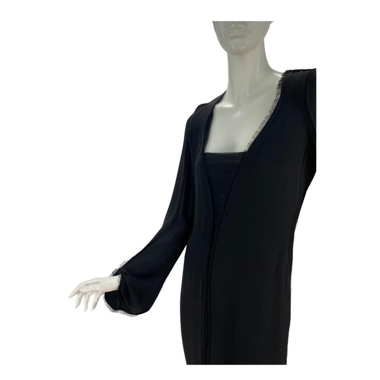 2001 Vintage Tom Ford for Yves Saint Laurent  Black Silk Dress FR Size 38 - US 6 100% Silk is finished with delicate ruched tulle and eyelash detail Immaculate Condition New, with tags  All you need is a pair of statement shoes, clutch or necklace.