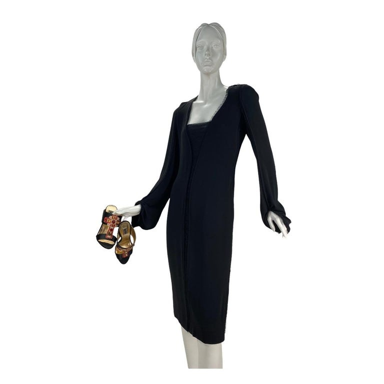 2001 Vintage Tom Ford for Yves Saint Laurent Black Silk Dress For Sale 1