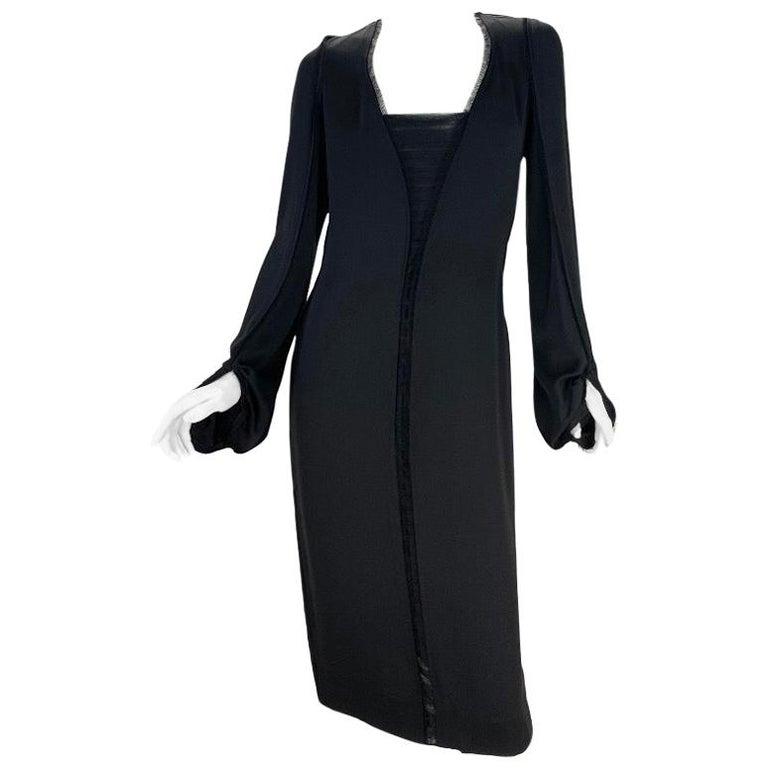 2001 Vintage Tom Ford for Yves Saint Laurent Black Silk Dress For Sale