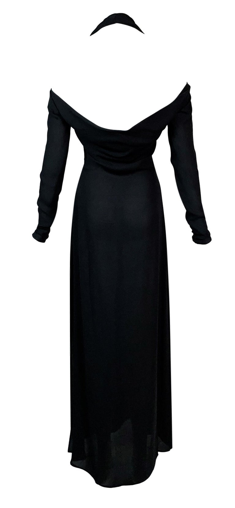 Black 2001 Yves Saint Laurent Tom Ford Semi-Sheer Plunging High Slit Gown Maxi Dress For Sale