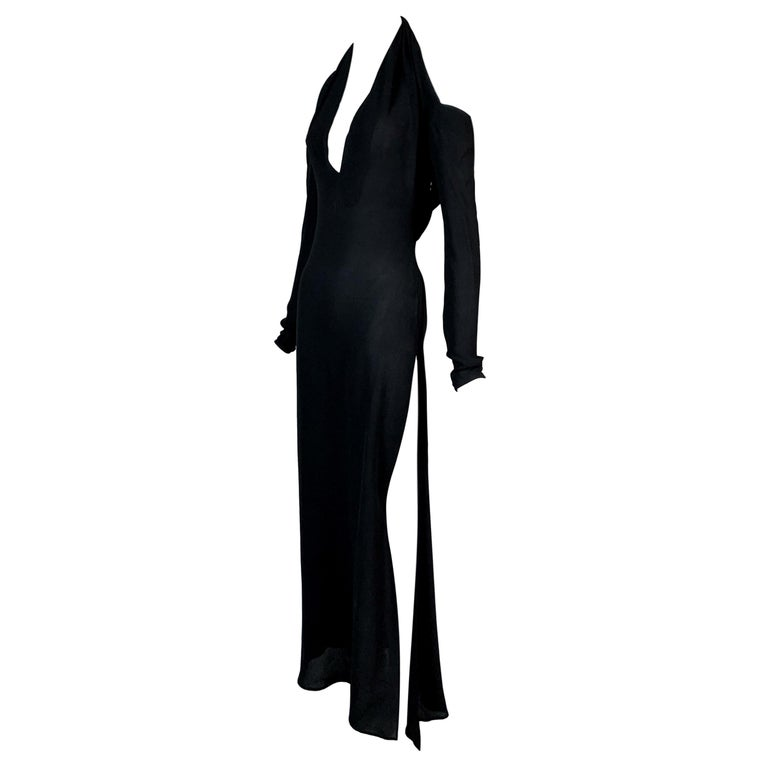 2001 Yves Saint Laurent Tom Ford Semi-Sheer Plunging High Slit Gown Maxi Dress For Sale