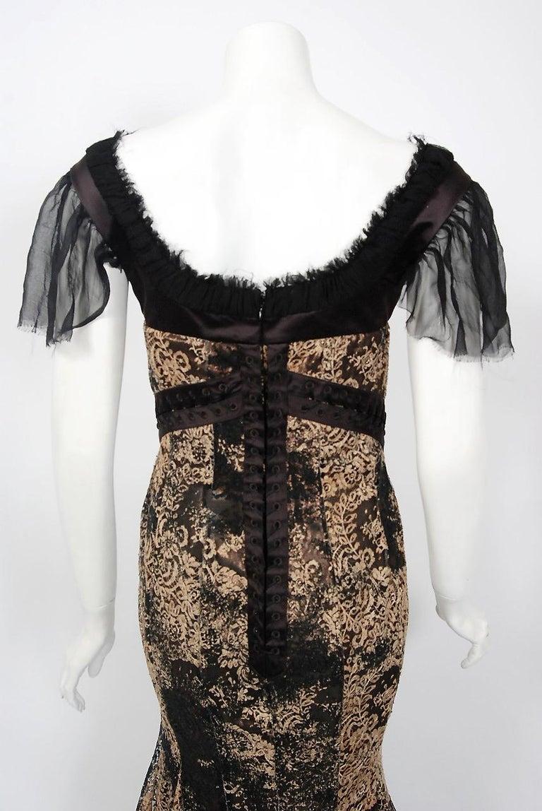 2002 Alexander McQueen Lifetime Runway Lace & Metallic Silk Corset Fishtail Gown For Sale 5