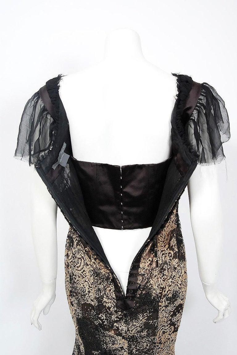 2002 Alexander McQueen Lifetime Runway Lace & Metallic Silk Corset Fishtail Gown For Sale 6