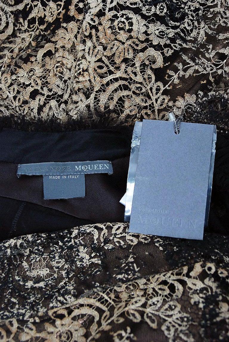 2002 Alexander McQueen Lifetime Runway Lace & Metallic Silk Corset Fishtail Gown For Sale 9