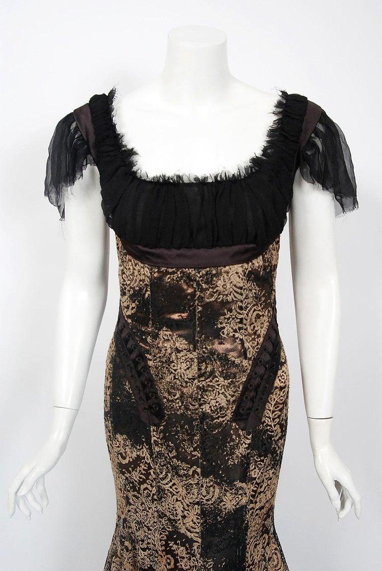 Black 2002 Alexander McQueen Lifetime Runway Lace & Metallic Silk Corset Fishtail Gown For Sale