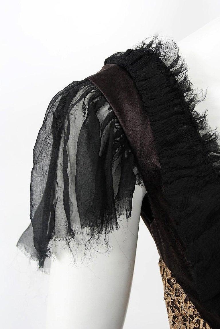 Women's 2002 Alexander McQueen Lifetime Runway Lace & Metallic Silk Corset Fishtail Gown For Sale