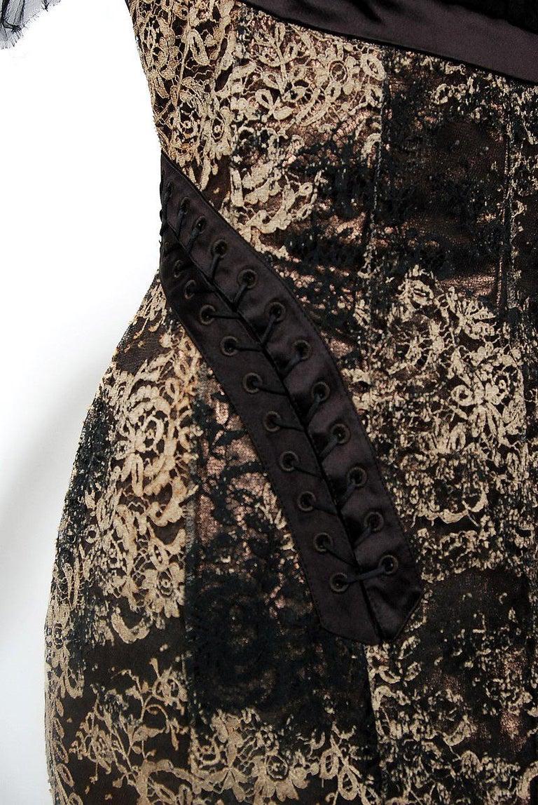 2002 Alexander McQueen Lifetime Runway Lace & Metallic Silk Corset Fishtail Gown For Sale 1