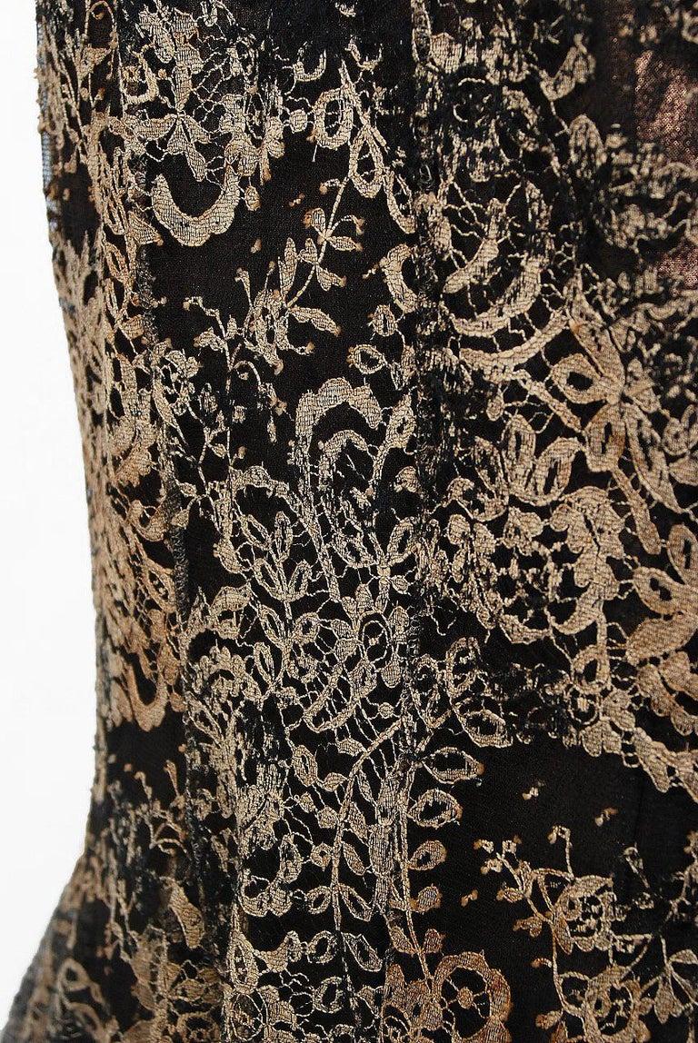 2002 Alexander McQueen Lifetime Runway Lace & Metallic Silk Corset Fishtail Gown For Sale 2