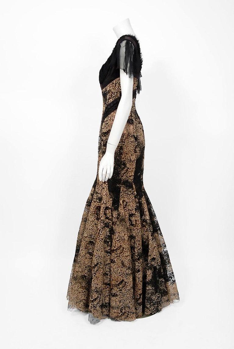 2002 Alexander McQueen Lifetime Runway Lace & Metallic Silk Corset Fishtail Gown For Sale 3