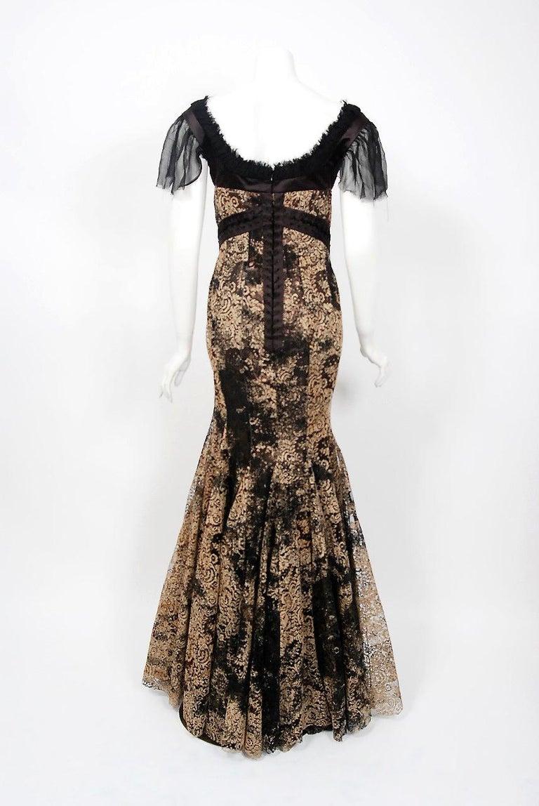 2002 Alexander McQueen Lifetime Runway Lace & Metallic Silk Corset Fishtail Gown For Sale 4