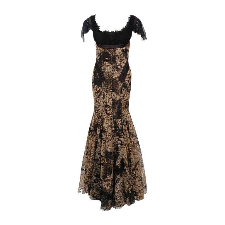 2002 Alexander McQueen Lifetime Runway Lace & Metallic Silk Corset Fishtail Gown For Sale