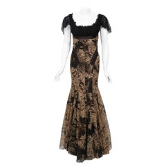 2002 Alexander McQueen Lifetime Runway Lace & Metallic Silk Corset Fishtail Gown