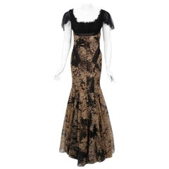2002 Alexander McQueen Lifetime Runway Lace & Metallic Silk Corset Fishtail Gown