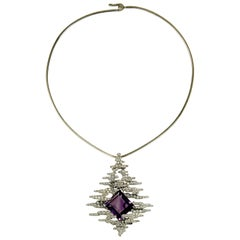2002 Andrew Grima Amethyst, Diamond and Gold Necklace
