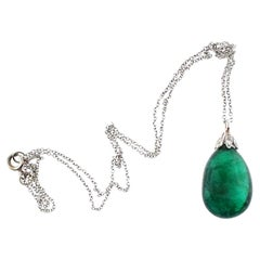 20.02 Carat Natural Emerald Pear Shape Drop Necklace with Diamond Topper