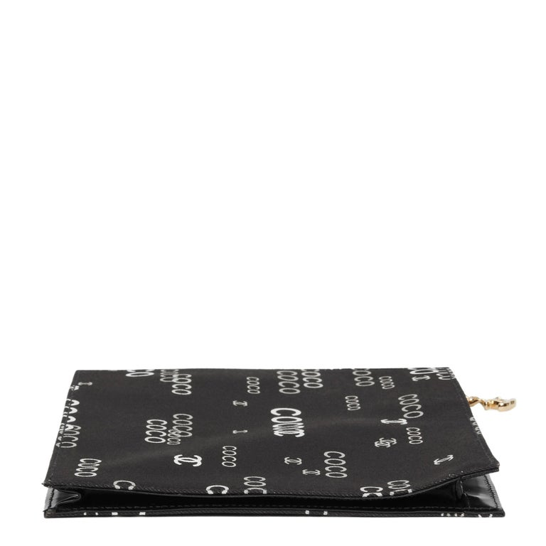 Women's 2002 Chanel Black Canvas Coco Pouch For Sale