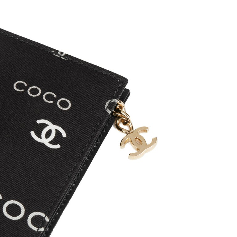 2002 Chanel Black Canvas Coco Pouch For Sale 2