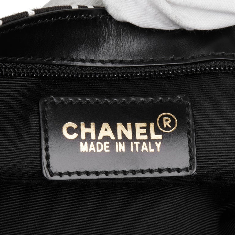 2002 Chanel Black Canvas Coco Pouch For Sale 4